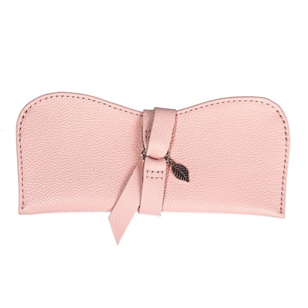 Кожаный чехол для очков розовый