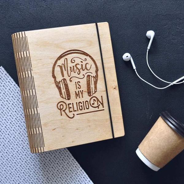 Деревянный блокнот Music is my religion