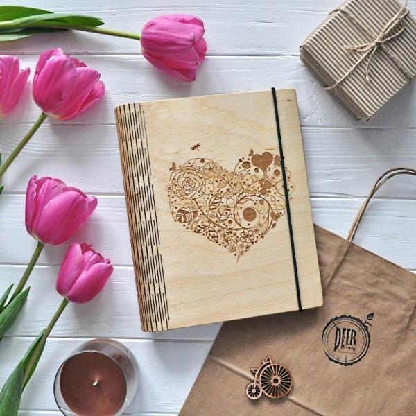 Деревянный блокнот Blossom heart
