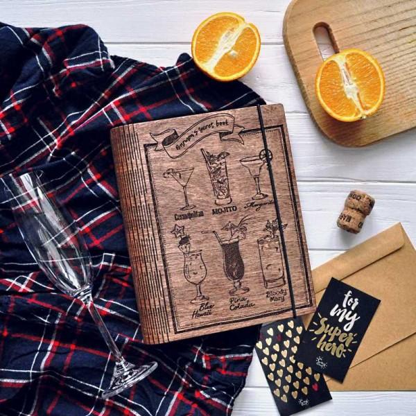 Деревянный блокнот Barmen's secret book