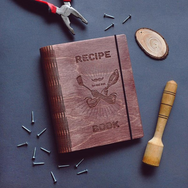 Блокнот из дерева Recipe book for real man