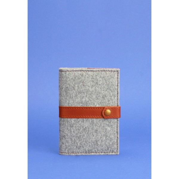 Обложка для паспорта 1.1 фетр коньяк
