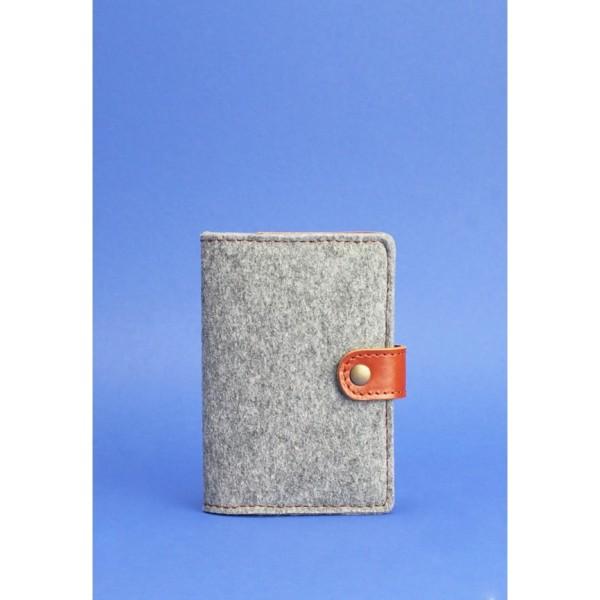 Обложка для паспорта 3.0 кожа + фетр коньяк