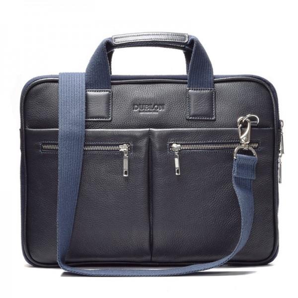 Кожаная сумка для ноутбука Escudo синяя