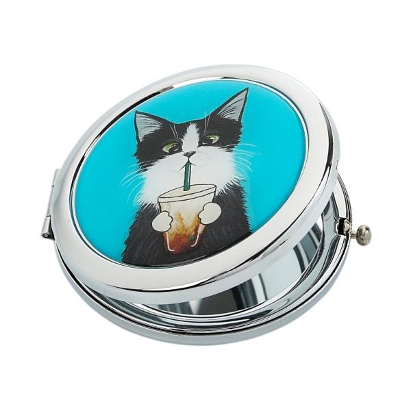 Карманное зеркало Кот со стаканом