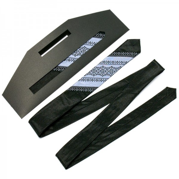 Тонкий галстук с вышивкой NR3095blk