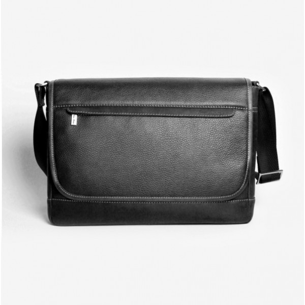 Мужская кожаная сумка мессенджер черная
