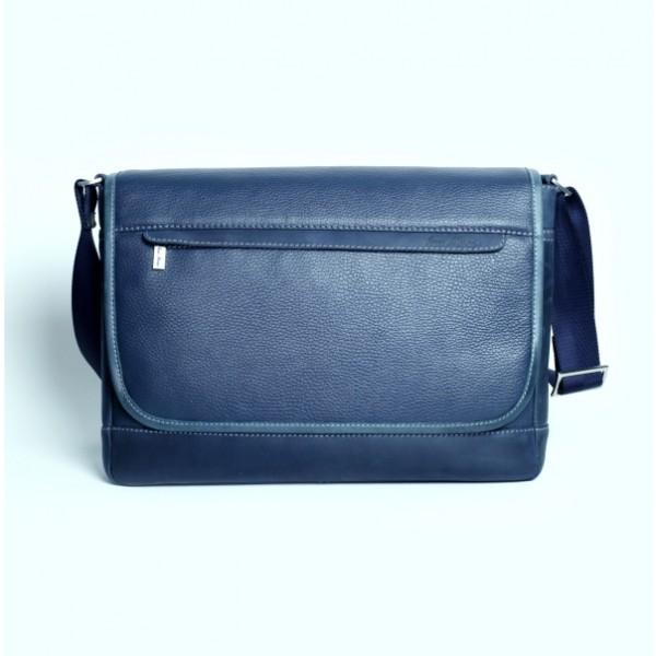 Мужская кожаная сумка мессенджер синяя