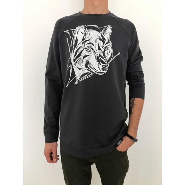 Мужской свитшот с принтом Волк графит