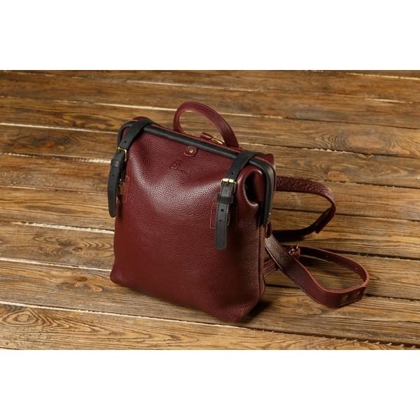Кожаный рюкзак BBK799combi бордо/черный