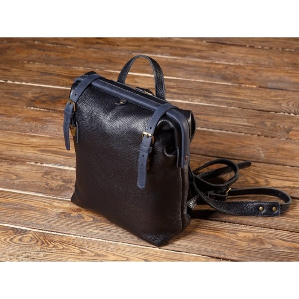 Кожаный рюкзак BBK798combi черный/синий