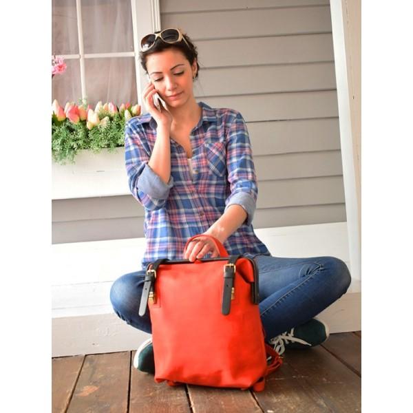 Кожаный рюкзак BBK797combi красный/синий
