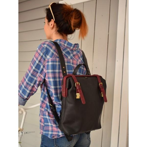 Кожаный рюкзак BBK796combi черный/марсала