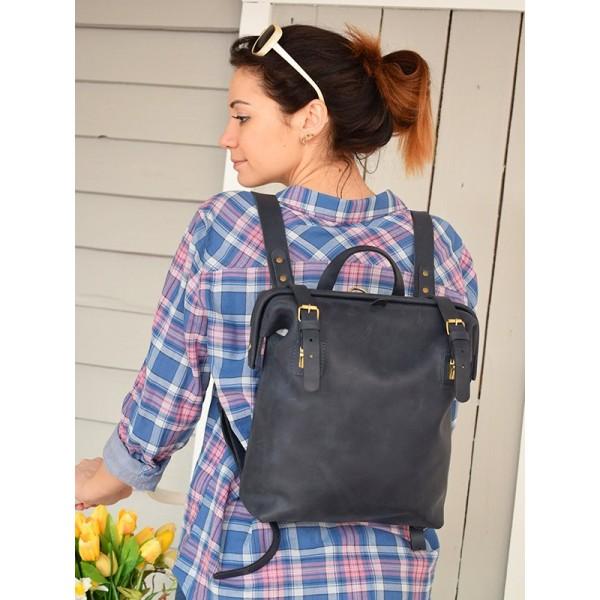 Кожаный рюкзак BBK794dbl темно-синий