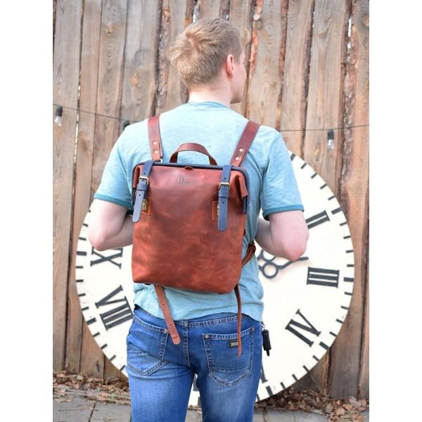 Кожаный рюкзак BBK795combi коньяк/синий