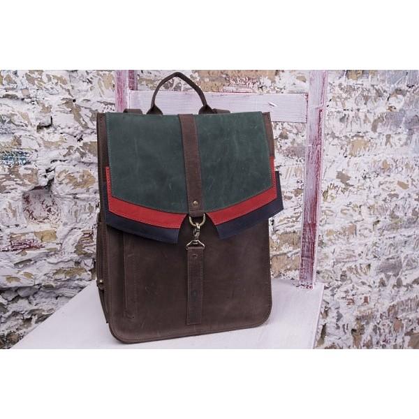 Кожаный рюкзак Блоки браун