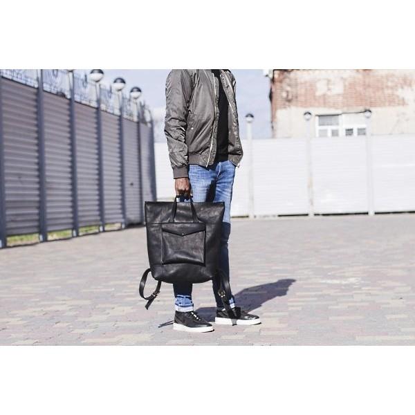 Мужской кожаный рюкзак BN2256blk