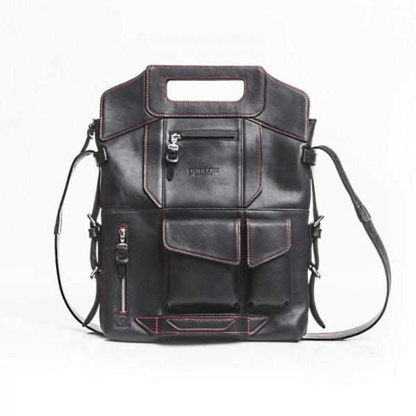 Кожаная сумка трансформер Megapolis XL блек/ред