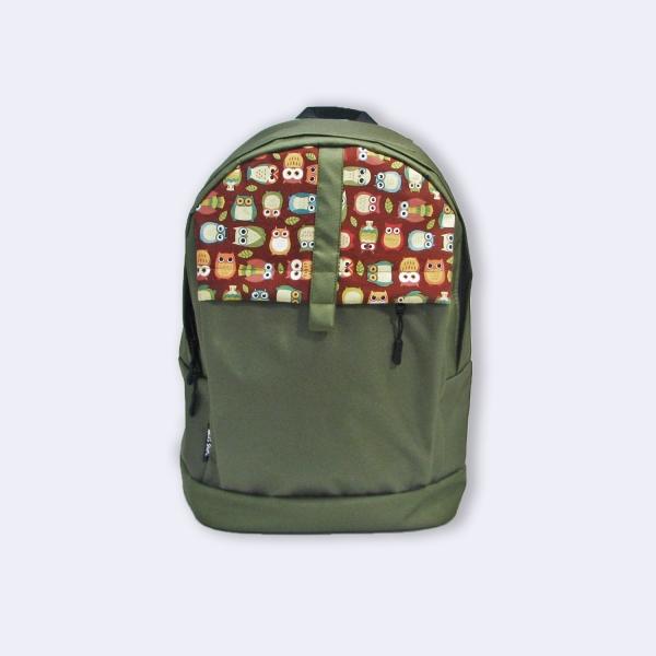 Молодежный рюкзак с совами хаки