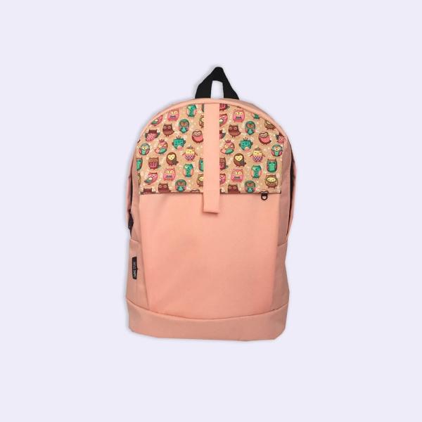 Молодежный персиковый рюкзак с совами