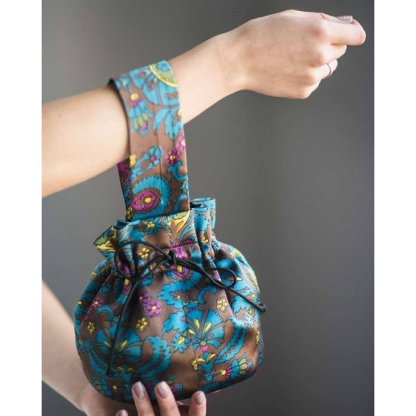 Сумка-мешок сине-зеленая с мелкими цветами