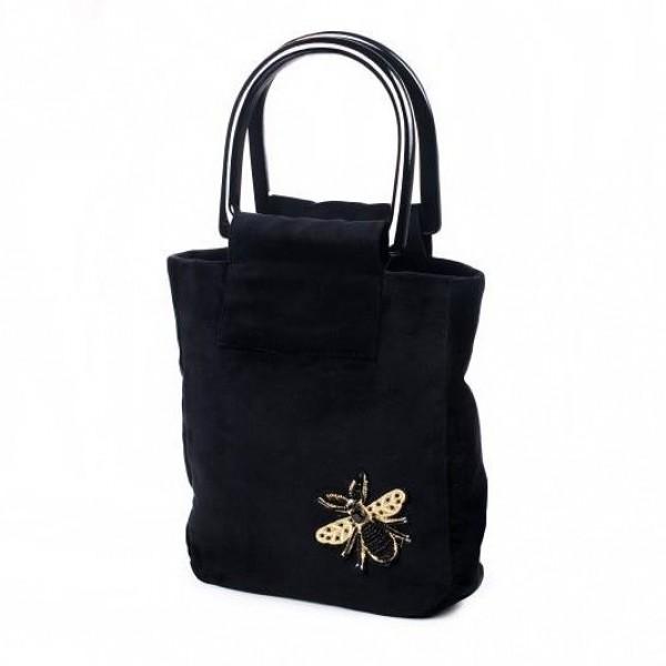 Винтажная сумка черная с золотой мухой
