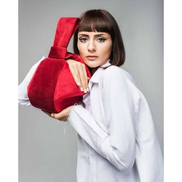Круглая сумка с длинной и короткой ручкой красно-бордовая