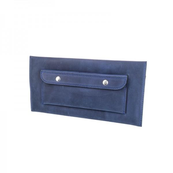 Кожаный клатч женский синий