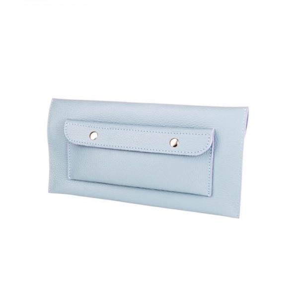 Кожаный клатч голубой