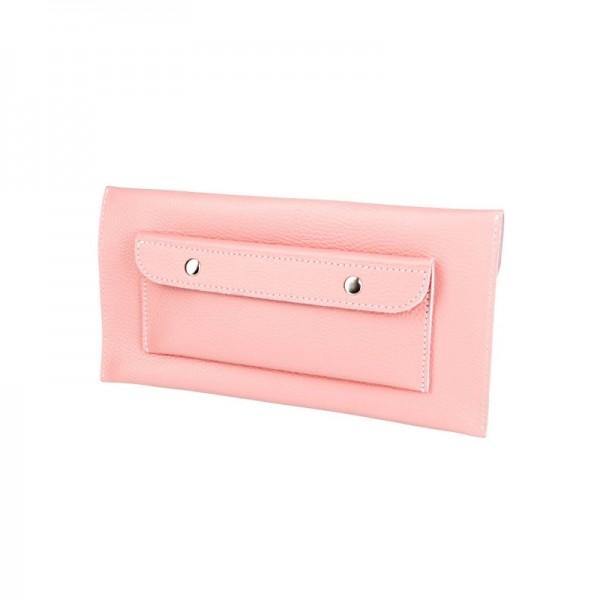 Кожаный клатч розовый