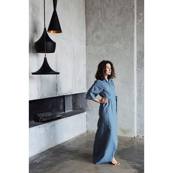 Длинный халат-кимоно льняной
