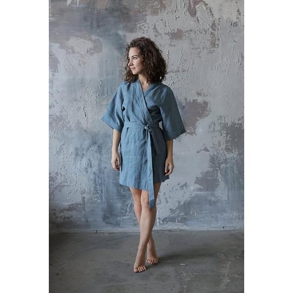 Льняной халат-кимоно