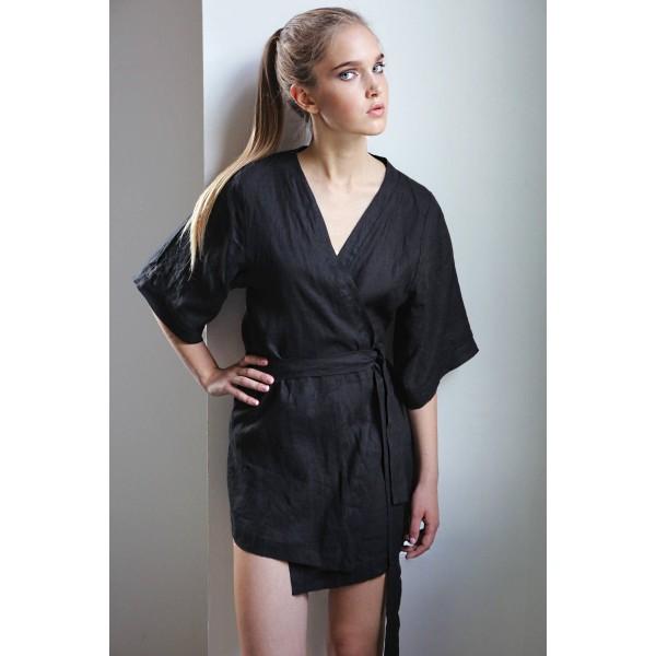 Льняной халат-кимоно черный