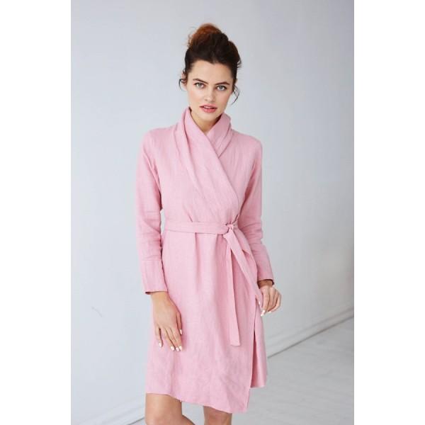 Женский Льняной халат-кардиган нежно-розовый