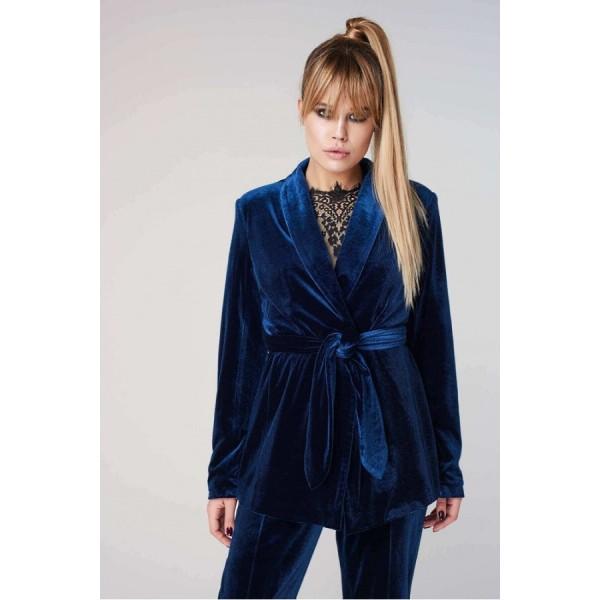 Женский бархатный пиджак синий