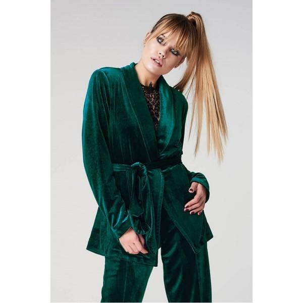 Женский бархатный пиджак изумруд