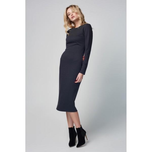 Платье-футляр миди серое