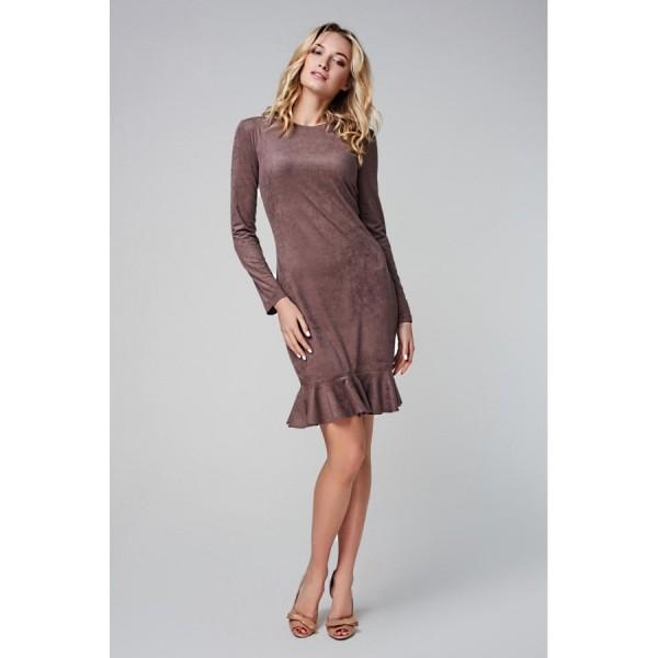 Платье-мини с рукавом и воланом по низу из эко замши