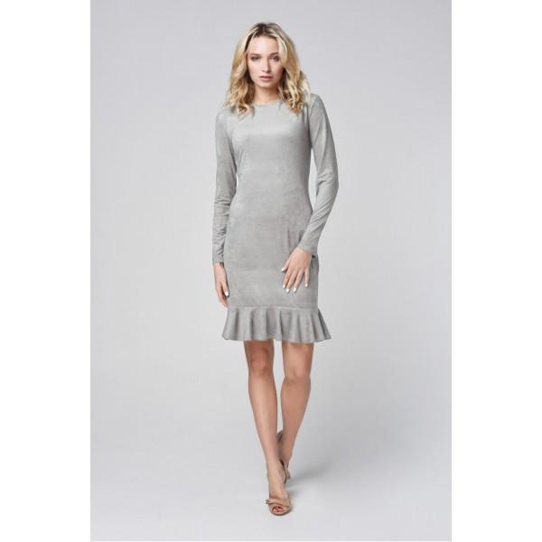 Платье-мини с рукавом и воланом по низу из эко замши серое