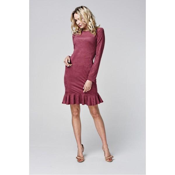 Платье-мини с рукавом и воланом по низу из эко замши марсала