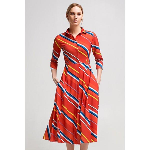 Платье рубашечного кроя в полоску