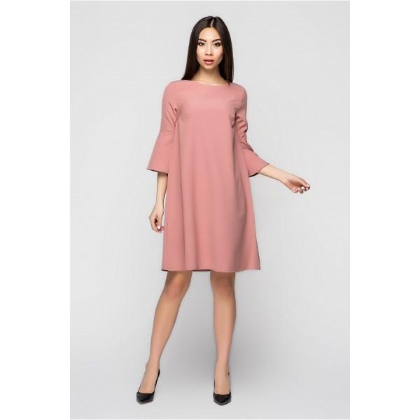 Платье-колокольчик пудровое
