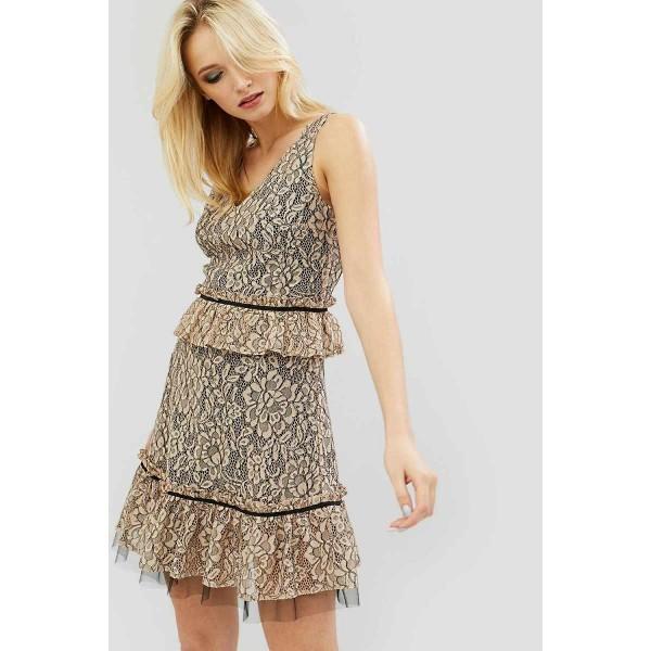 Кружевное коктейльное платье CD2652crmy