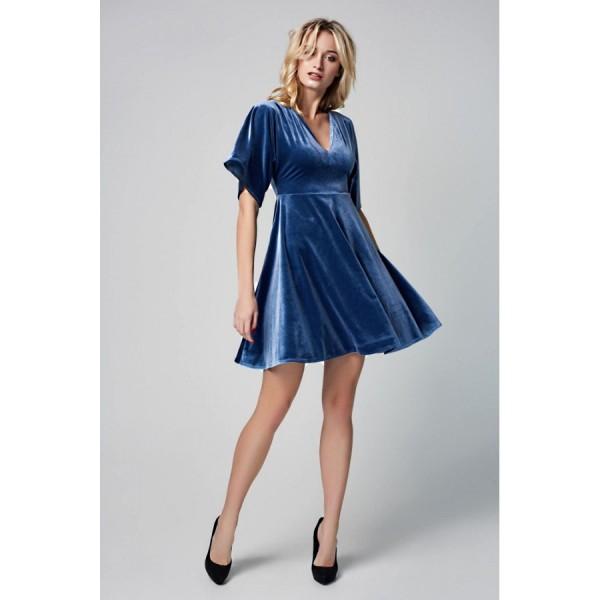 Платье-мини с юбкой-полусолнце из голубого бархата