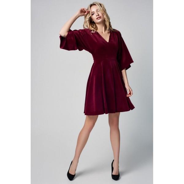 Платье-мини с юбкой-полусолнце из бархата марсала