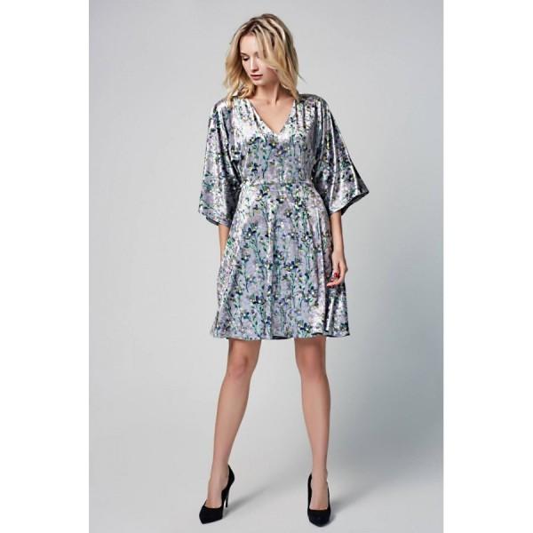 Платье-мини с юбкой-полусолнце из бархата цветы
