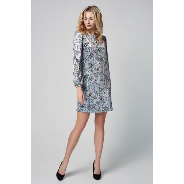 Платье-трапеция из бархата цветочный принт