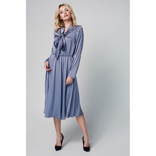 58fae821e88152 Платье с воротником-бант серое