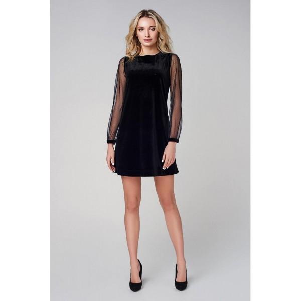 Платье из черного бархата с рукавом сетка