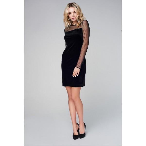 Платье-футляр мини из черного бархата с рукавом сетка